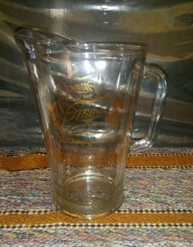 """Vintage Miller High Life """"The Champagne Of Beer"""" Heavy Gold Hops Glass Pitcher"""