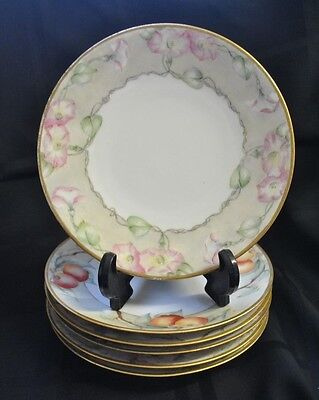 Limoges Dessert Dishes 6 Assorted Hand Painted Fruit/Flora Dessert Dishes Hand Painted Dessert