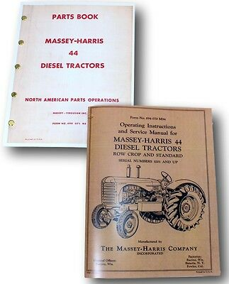 Massey Harris 44 Diesel Tractor Service Repair Parts Owners Operators Manuals