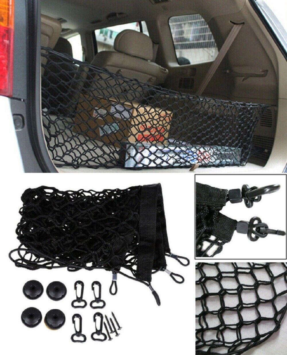 Universal Nylon Car Rear Cargo Storage Organizer Elastic Mesh Net Plus Mounting Car & Truck Parts