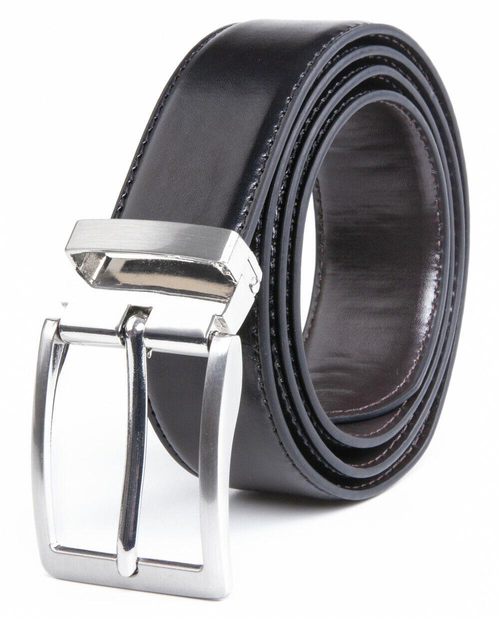 Men's Reversible Belt with Dress Buckle Belt for Men,One Belt with 2 colors Belts