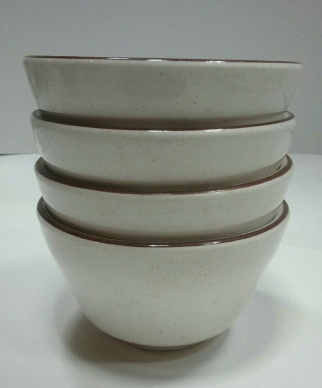 """4 Vintage Buffalo China Restaurant Ware Soup Cups Speckled With Brown Trim 4"""""""