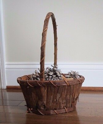 - Hand Crafted Dark Brown Wood Basket with solid wood bottom