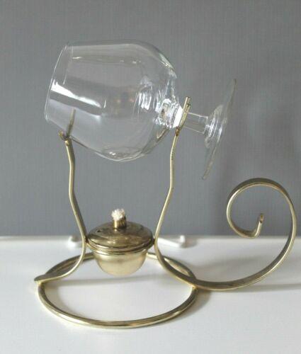 Vintage Brass Lamp Brandy Warmer with Glass