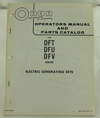 Vintage Onan Dft Dfu Dfv Series Generator Genset Operators Manual Parts Catalog