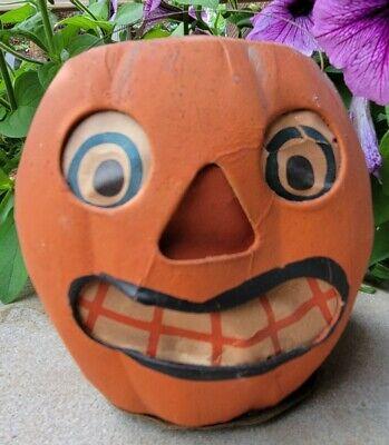Antique 1930's Paper Mache Halloween Pumpkin Jack O' Lantern w/Wire Handle