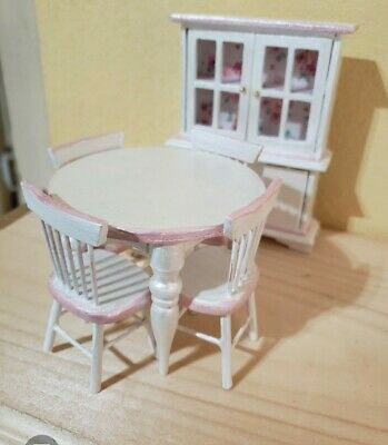 Dollhouse Handcrafted furniture wood dinning room set white and pink 6 pieces