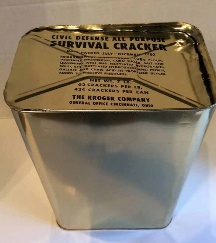 1962 Civil Defense Survival Crackers Sealed in Tin Metal Canister Bomb Shelter