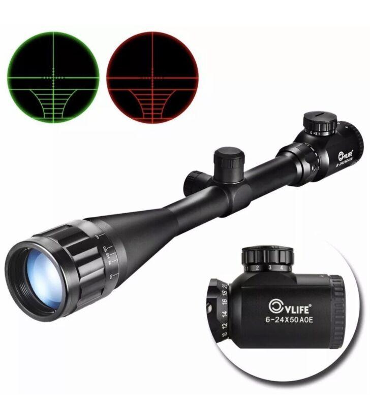 Cvlife Hunting Rifle Scope 6-24x50 AOE Red &Green Mil-Dot Illuminated Gun Scope
