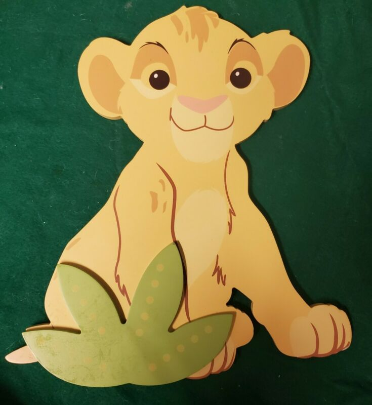 Disney Lion King Shaped Wood Wall Art Simba Yellow Baby Toddler Bedroom