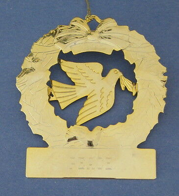 Wreath Dove Birds Peace Christmas Tree Ornament Goldtone Metal Etched Holiday