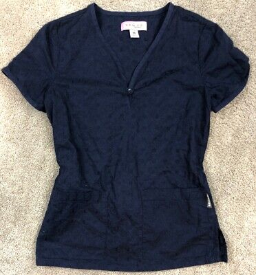 Navy Medical Scrubs (Koi Scrubs Top Navy Blue XS Sheer Floral Stitch Nurse Shirt Uniform Medical)