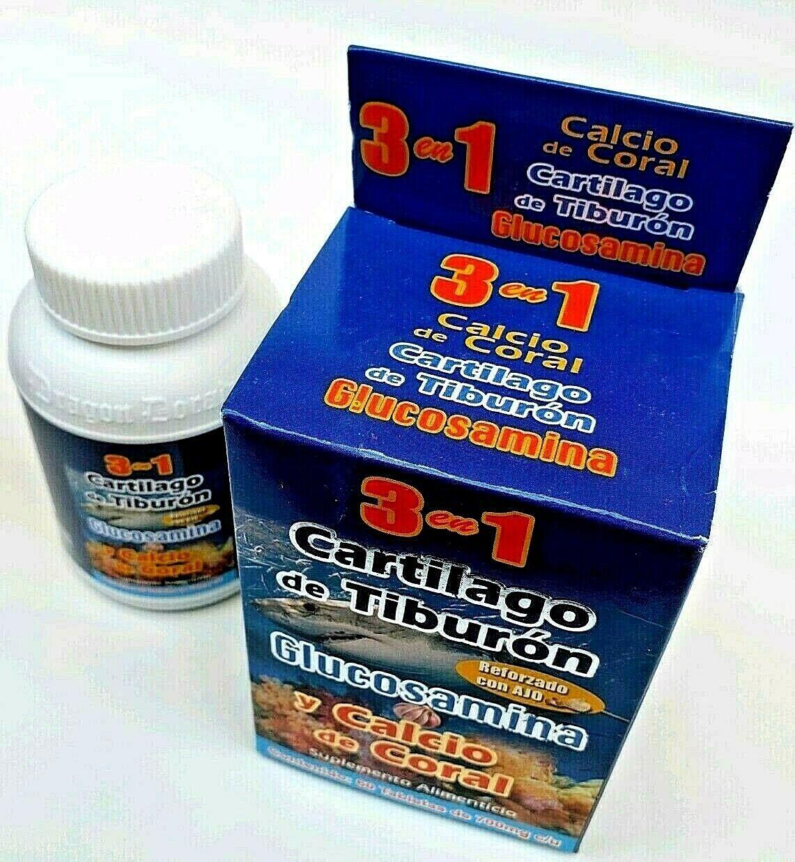 3 en 1 CARTILAGO TIBURON GLUCOSAMINA CALCIO CORAL REFORZADO + AJO FREE SHIPPING 10
