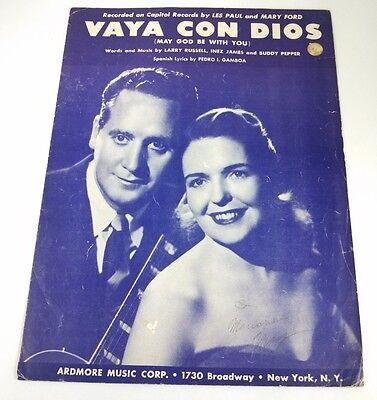 VAYA CON DIOS (MAY GOD BE WITH YOU) - SHEET MUSIC - COPYRIGHT 1953