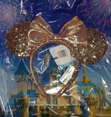NWT Authentic ROSE GOLD Minnie Mouse Ears Headband
