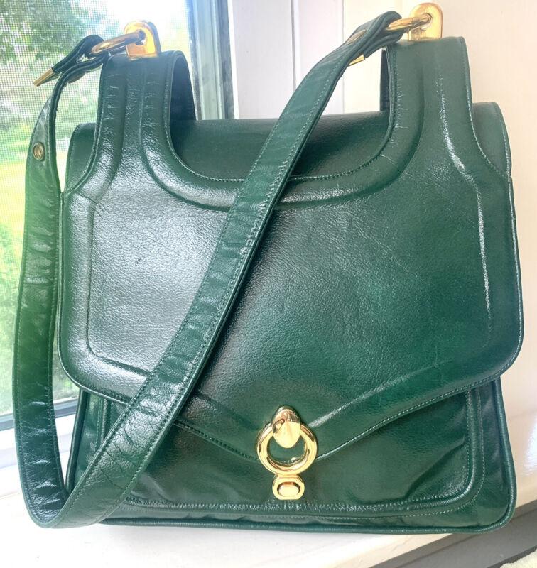 Vintage 1960s Handmade Zenith Kelley Green Leather Shoulder Bag ~ Excellent Cond