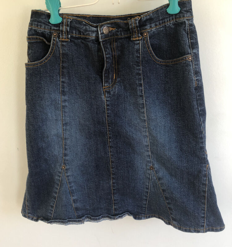 The Childrens Place Stretch Girl Long 18 Inch modest Denim Jean Skirt 12