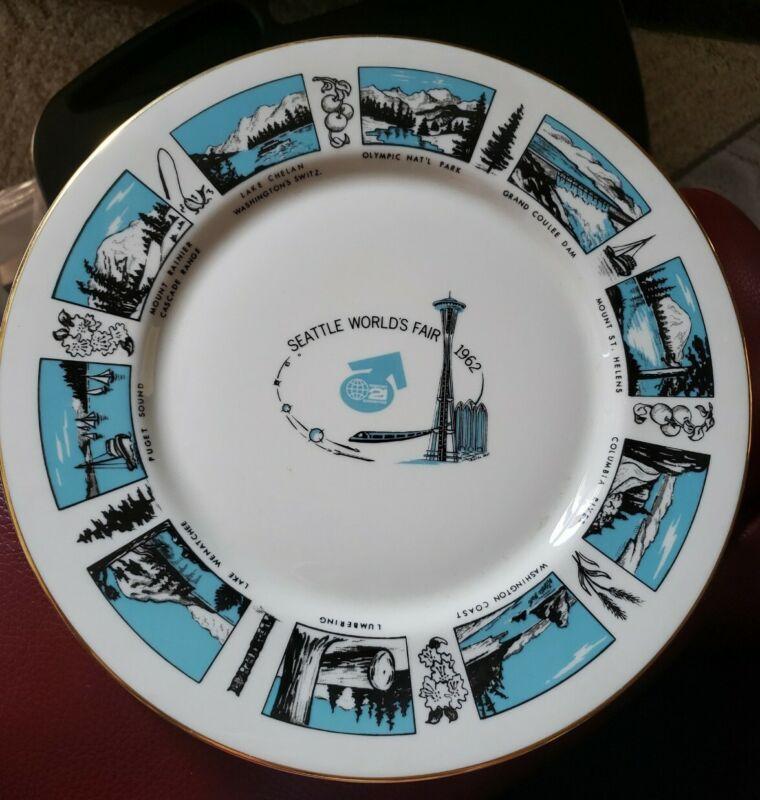 "Vintage Seattle Worlds Fair 1962 Collector Plate 10 1/2"" Roseburg"