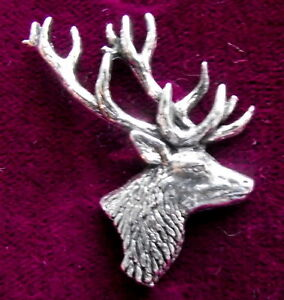 Scottish Red Deer Stags Head Hunting Brooch Pin