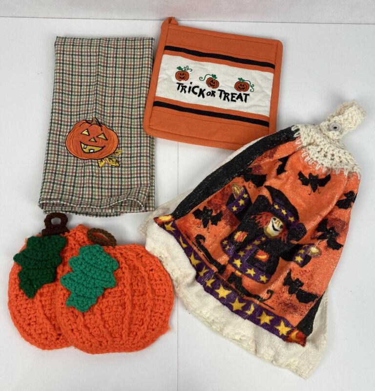 Halloween Fall Kitchen Linen Lot Pot Holder Hanging Crochet Dish Towel Plaid JOL