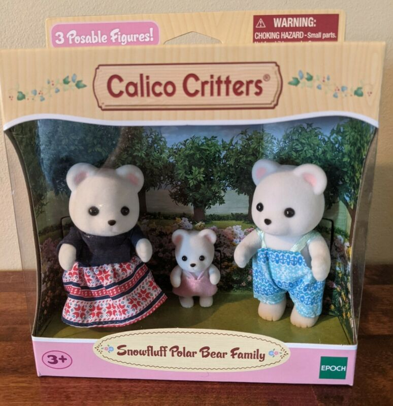 Calico Critters Snowfluff Polar Bear Family - New in Box