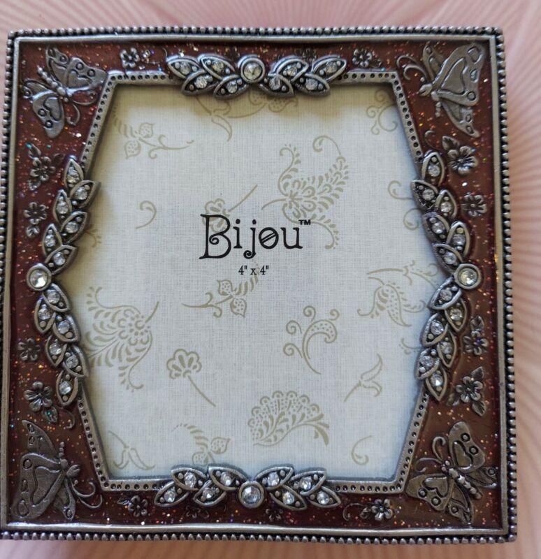 "Bijou Ornate Metal Picture Frame Butterflies Rhinestones & Copper Enamel 4""x4"""