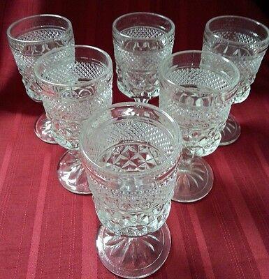 "Set of 6 Vintage ANCHOR HOCKING WEXFORD Diamond Claret Wine Goblets 5-3/8"" 6 oz."