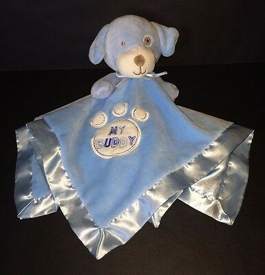 Baby Gear Blue White Puppy Dog My Buddy Baby security blanket paw print satin