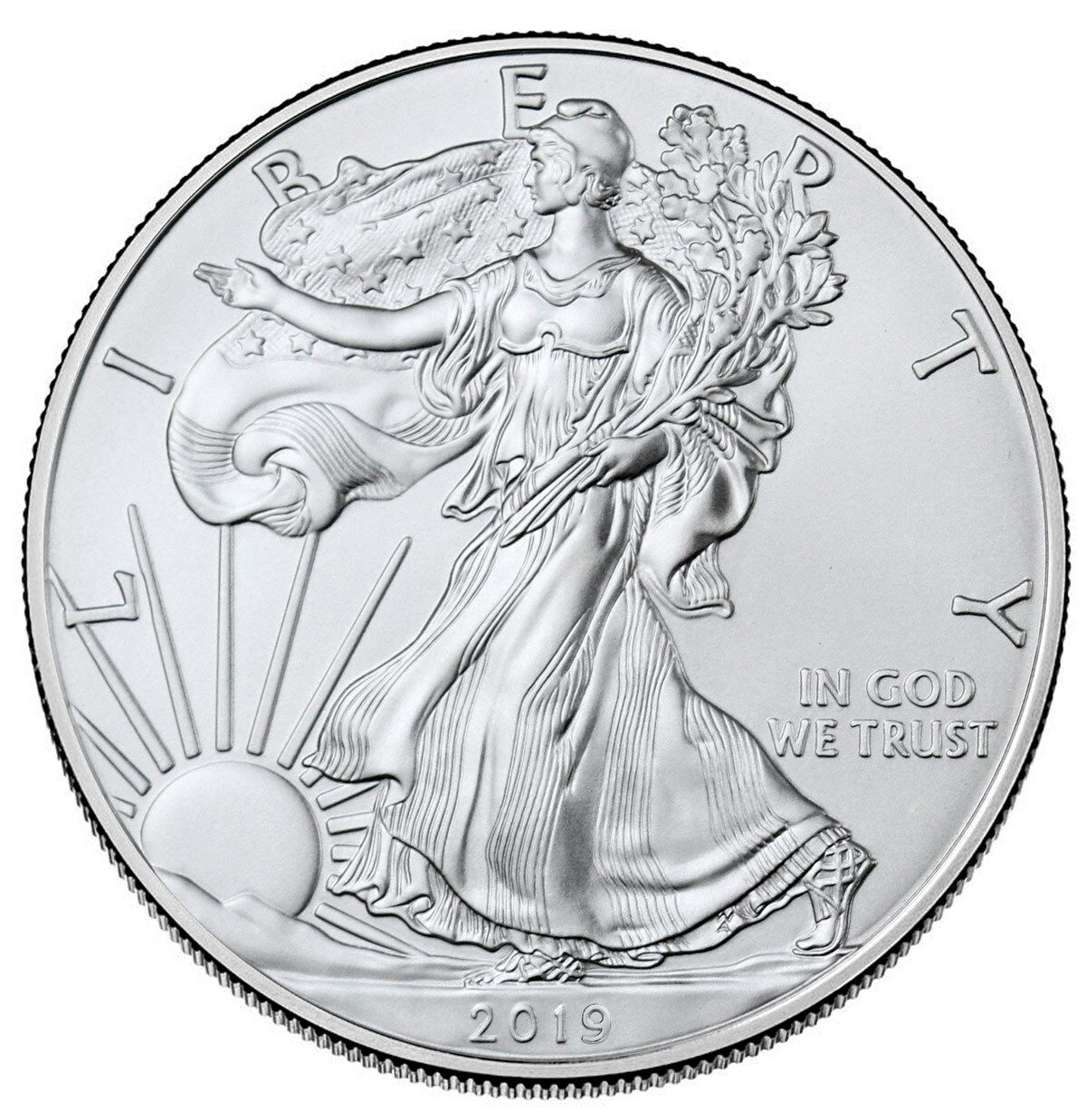 Купить 2019 1 oz American Silver Eagle $1 GEM BU SKU55748