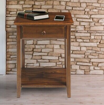 Solid Wood Nightstand w/ Drawer Charging Station Bedside End Display Table Brown