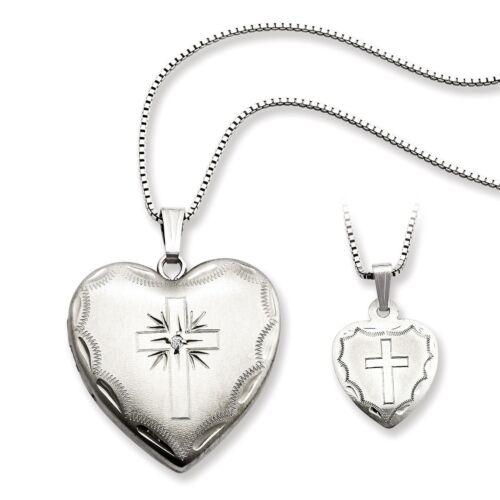 Sterling Silver Rhodium-plated Diamond Cross Heart Locket...
