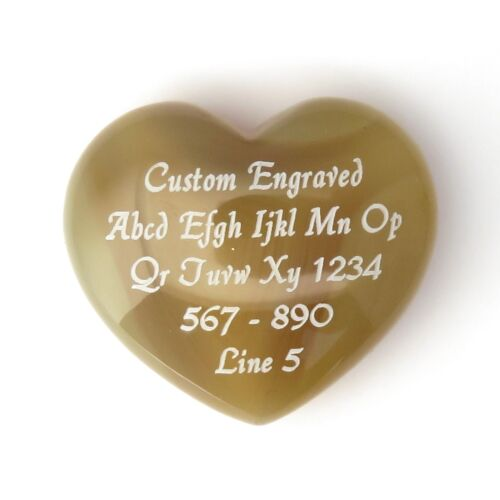 Light Natural Agate Stone Puff Heart 40x35mm or 1.5 inches - Custom Engraved