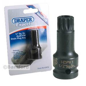 Draper M16 Oil Drain Plug Socket  Key For VW Audi Gearbox Transmission 1/2