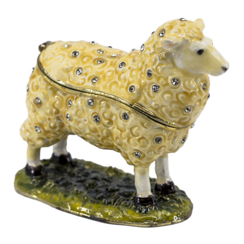 "Bejeweled Enameled Pewter Sheep Trinket Box With Crystals 3.25"" Long New!"
