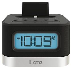iHome iPL8BN Stereo FM Clock Radio with Lightning Dock for iPhone 5/5S and