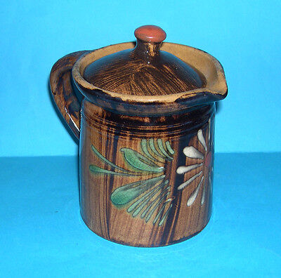 Studio Pottery - Attractive Lidded Pouring Jug - Very Decorative Abstract Design