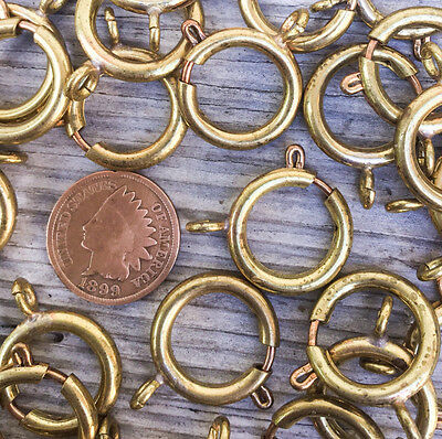 10pc Lot vtg XL Brass Spring Ring BIG 18mm watch chain clasps Repair nos clasp