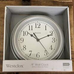 Westclox 46984A Wall Clock Round Analog Silver Frame