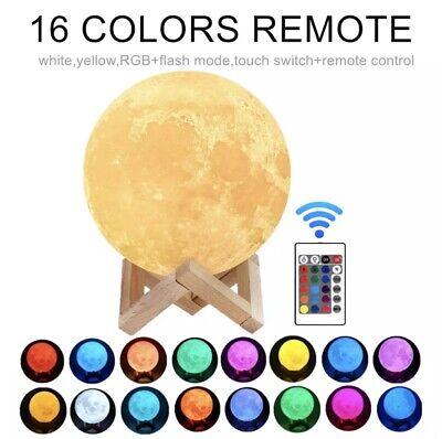 LED Luz nocturna Lámpara de luna 3D regulable 16 colores de luz+control...