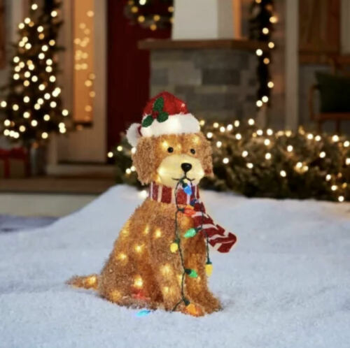 """NEW! SOLD OUT Holiday Living 27"""" Christmas LED Light Up Fluffy Doodle Dog"""
