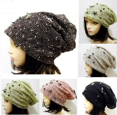- Star Spike Studded Bling Knit Net Style Beanie Slouchy Fashion Hat NEW