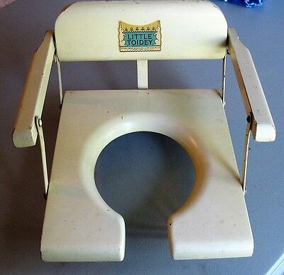 (Vintage Child's Toddler Wood Potty Training Chair Little Toidey Good Decal Decor)