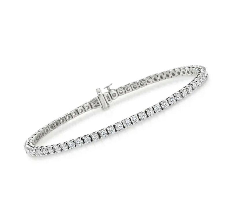 """4.00 Carat Total E VS2 Genuine Diamond Tennis Bracelet Set in Solid 14K Gold 7"""""""