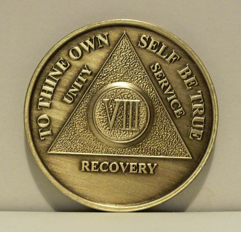 Alcoholic 8 Year Recovery 8 Yr Chip Medallion Coin Medal Token  AA Anonymous