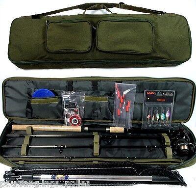 Travel Fishing Rod ,Reel , Floats , Shot ,Spinners,Net, Hooks Deluxe Bag Kit