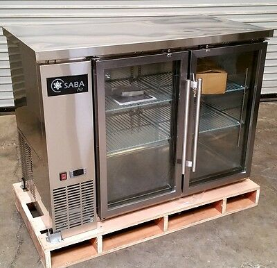 New 48 2 Door Glass Bar Cooler Back Saba Sbb-24-48gss 4466 Stainless Steel