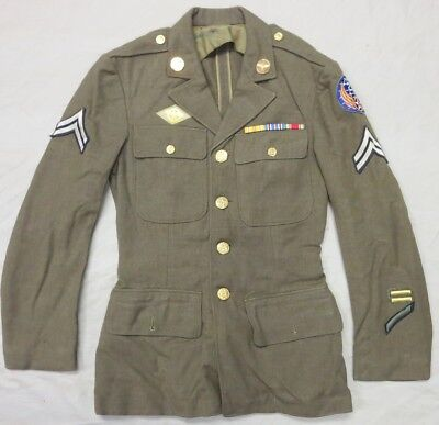WW2 Vintage 20th US ARMY AIR FORCE UNIFORM COAT, USAAF BRASS, SERVICE RIBBONS