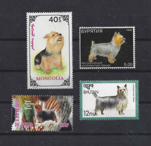 Dog Art Body Portrait Postage Stamp Collection Australian SILKY TERRIER 4 x MNH
