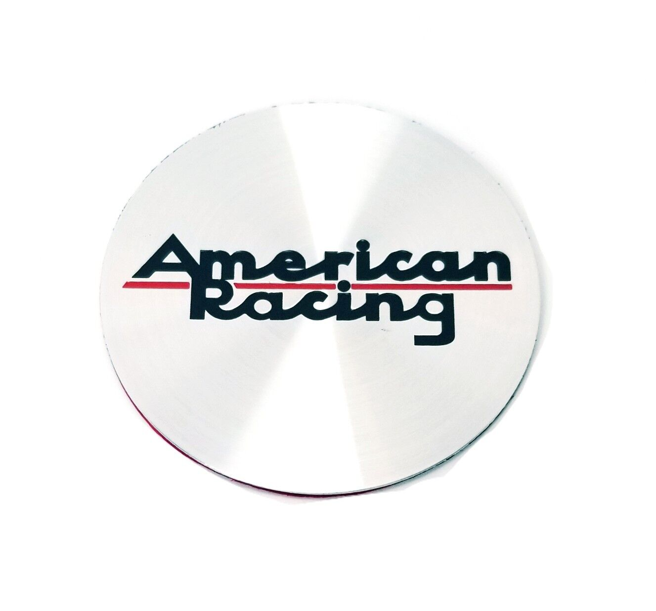 "American Racing Vintage Logo Replacement Brushed Chrome 65mm 2.50"" Red Line"
