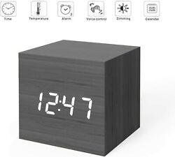 Digital Alarm Clock, Wood LED Light Mini Modern Cube Desk Alarm Clock Displays